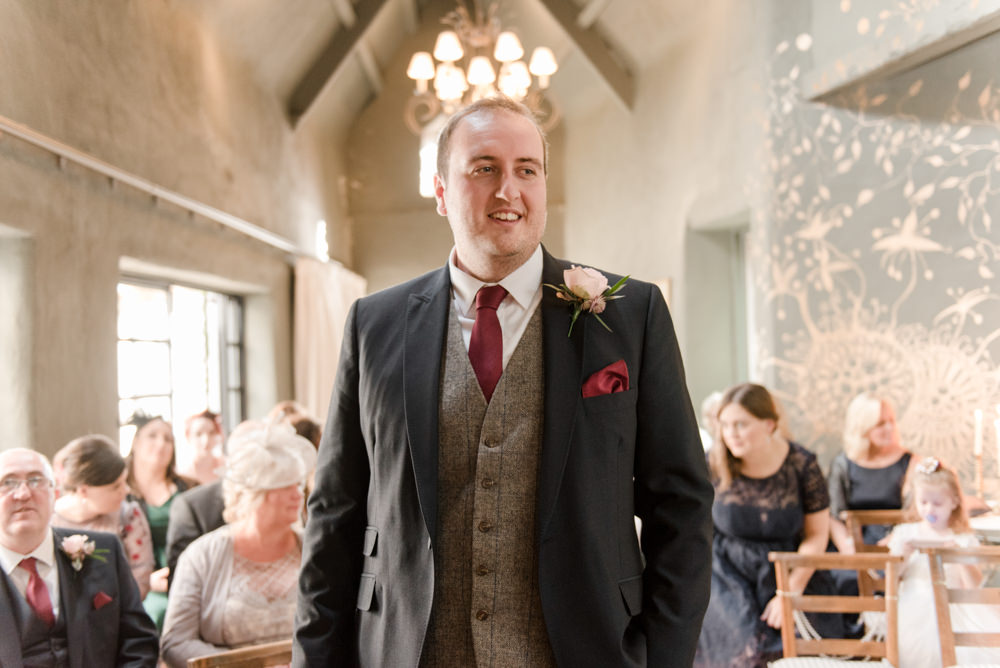 Tweed Waistcoat Three Piece Suit Groom Penally Abbey Wedding Eleanor Jane Photography