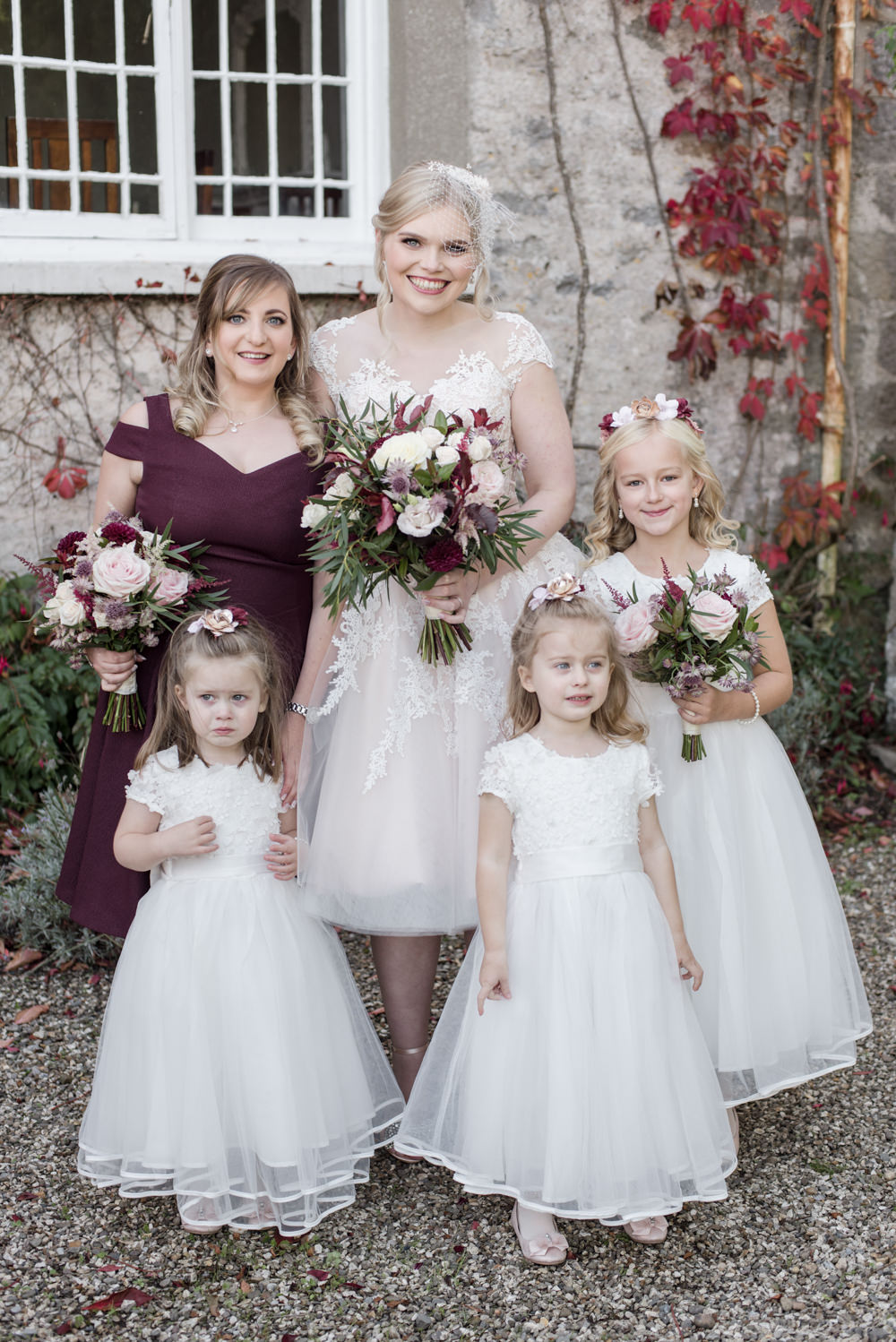 Bride Bridal Short Tea Length Dress Lace V Neck Short Sleeved Bridesmaids Flower Girls White Blush Burgundy Penally Abbey Wedding Eleanor Jane Photography