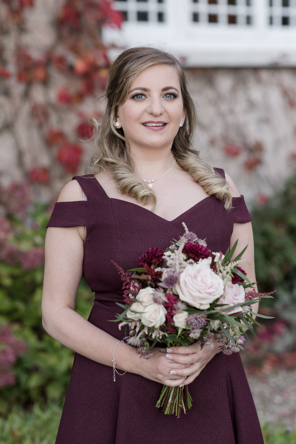 Wine Burgundy Bridesmaid Penally Abbey Wedding Eleanor Jane Photography