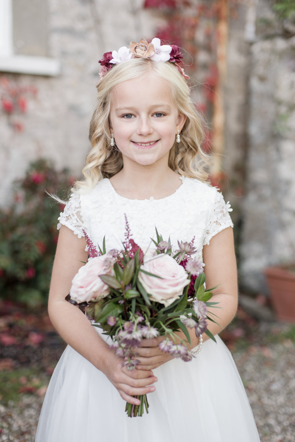 Flower Girl Crown Bouquet White Dress Penally Abbey Wedding Eleanor Jane Photography