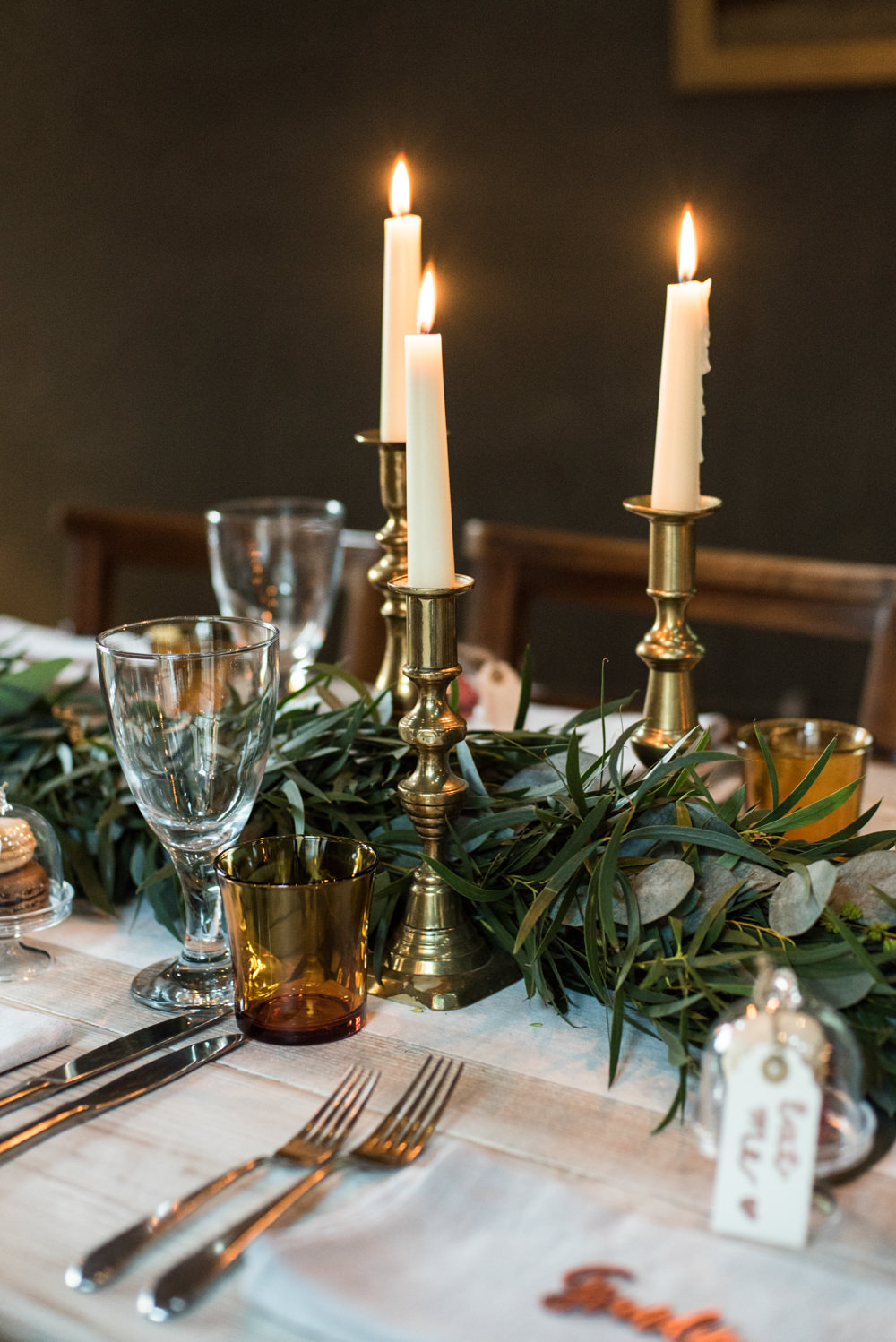 Foliage Garland Brass Candlesticks Penally Abbey Wedding Eleanor Jane Photography