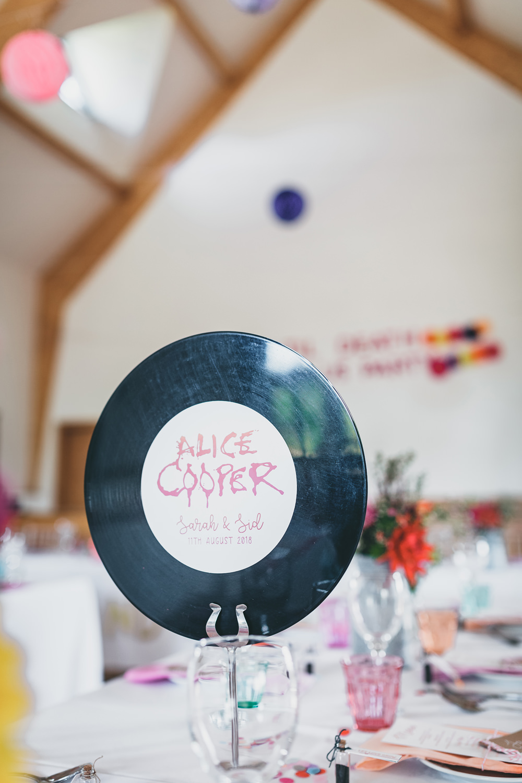 Vinyl Recor Table Name Rock Village Hall Wedding Lucie Hamilton Photography