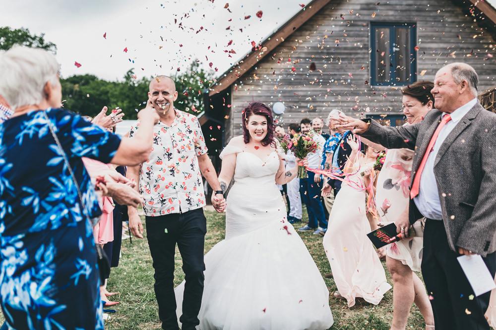 Confetti Throw Rock Village Hall Wedding Lucie Hamilton Photography