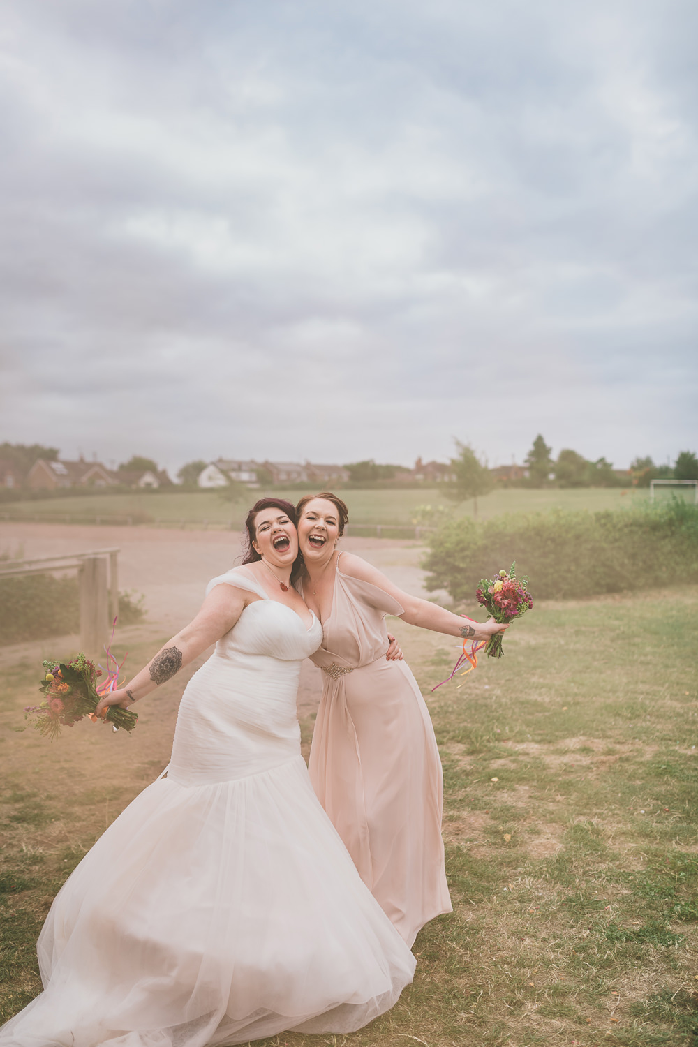 Pale Pink Bridesmaid Dress Long Maxi Rock Village Hall Wedding Lucie Hamilton Photography