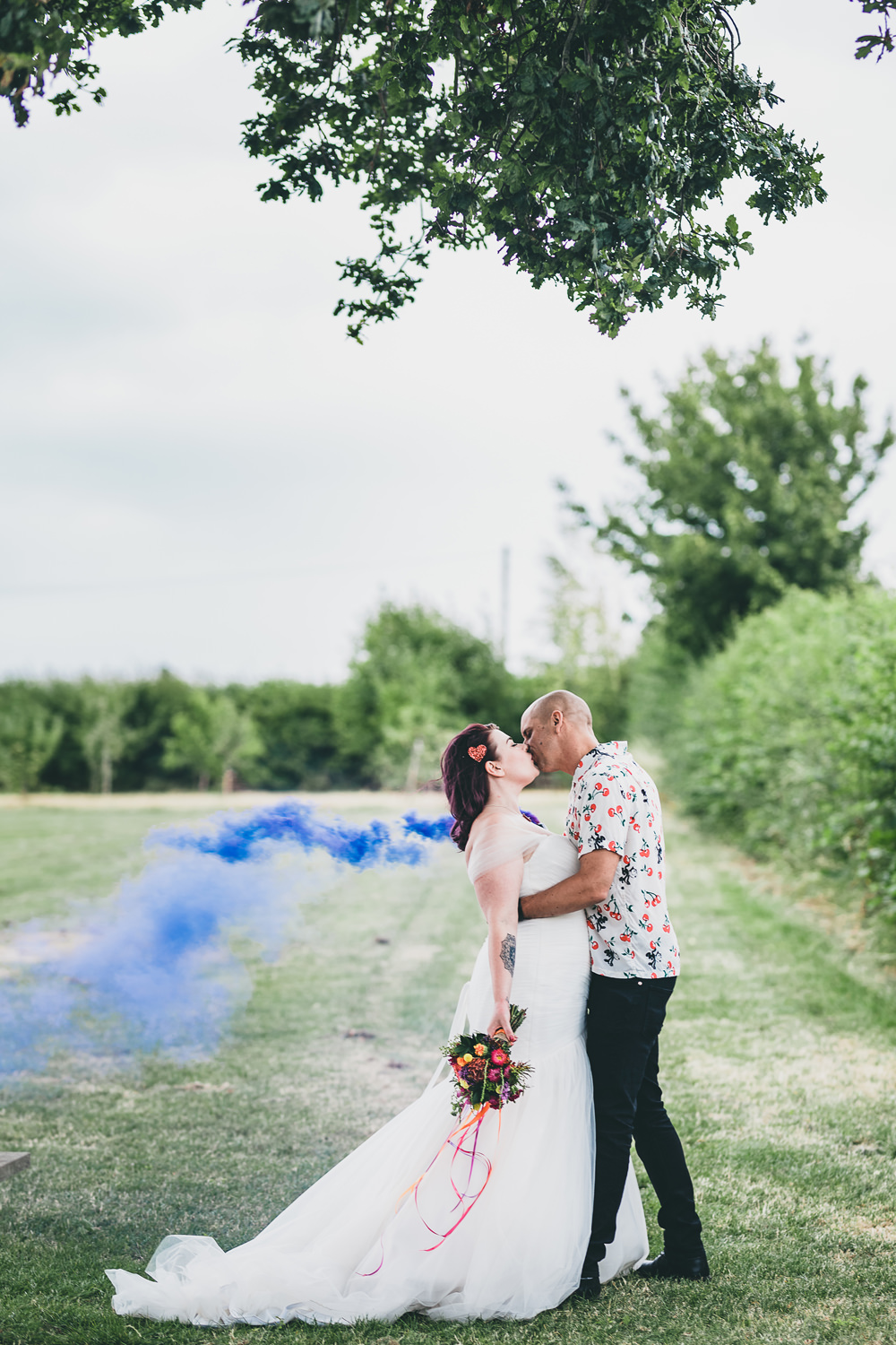 Bride Bridal Dress Gown Tulle Strapless Fit Flare Smoke Bomb Portrait Photo Photographs Rock Village Hall Wedding Lucie Hamilton Photography