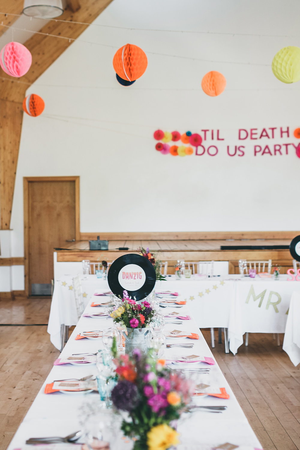 Banner Sign Signage Til Death Us Do Party Lanterns Decor Colourful Rock Village Hall Wedding Lucie Hamilton Photography
