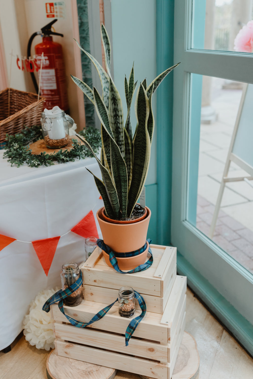 Stacked Wooden Crate Succulent Tartan Ribbon Bunting Sun Pavilion Wedding Stevie Jay Photography