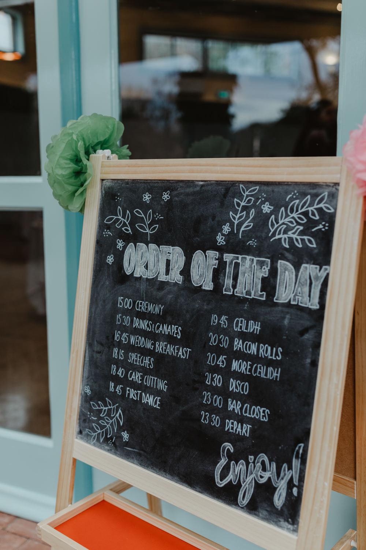 Order of the Day Blackboard Chalk Board Sun Pavilion Wedding Stevie Jay Photography