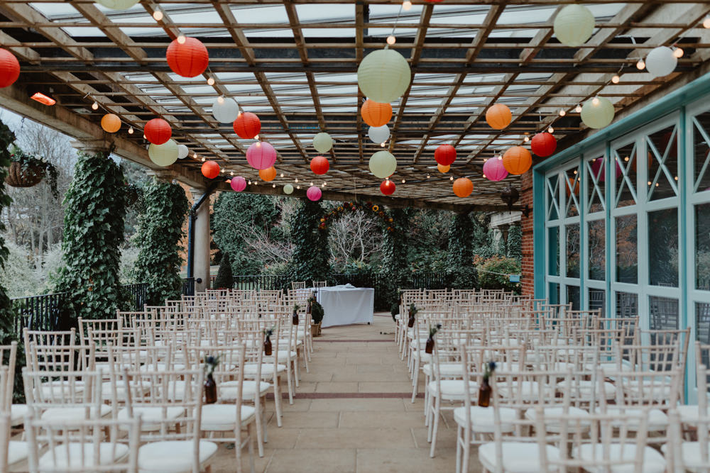 Covered Outdoor Ceremony Paper Lanterns Multicoloured Sun Pavilion Wedding Stevie Jay Photography