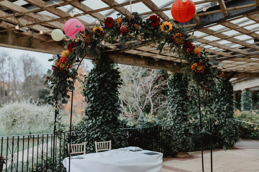 Flower Arch Paper Lantern Sun Pavilion Wedding Stevie Jay Photography