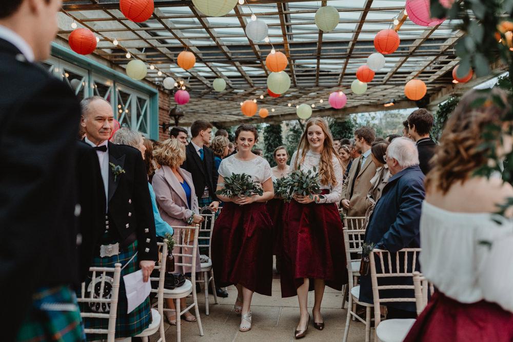 High Low Burgundy Bridesmaids Skirt Sun Pavilion Wedding Stevie Jay Photography