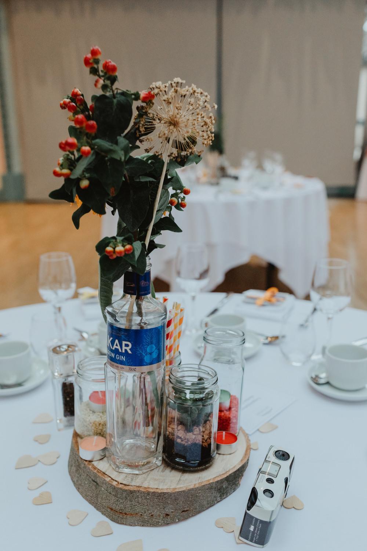 Wood Slice Table Centre Bottle Berries Sun Pavilion Wedding Stevie Jay Photography