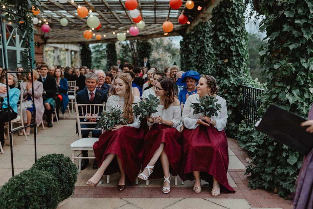 Burgundy High Low Skirt Bridesmaids Sun Pavilion Wedding Stevie Jay Photography