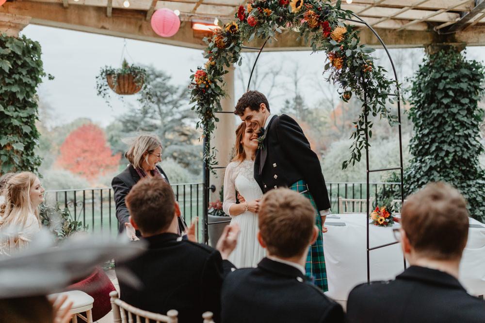 Bride Bridal Sweetheart Neckline Dress Gown Three Quarter Sleeve Cover Up Hair Vine Kilt Groom Sun Pavilion Wedding Stevie Jay Photography