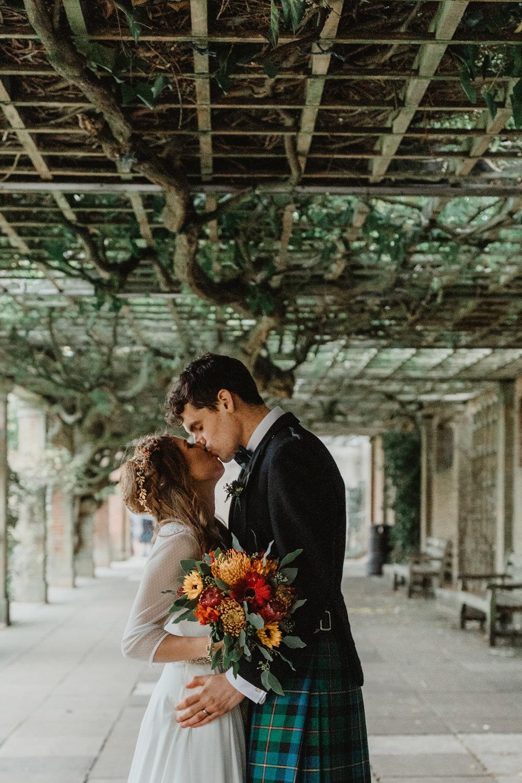 Bride Bridal Sweetheart Neckline Dress Gown Three Quarter Sleeve Cover Up Hair Vine Kilt Groom Autumn Flower Bouquet Sun Pavilion Wedding Stevie Jay Photography