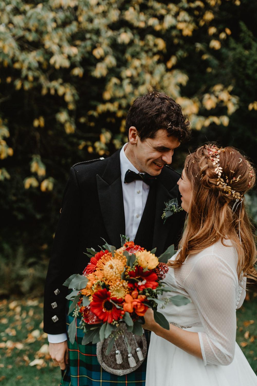 Bride Bridal Sweetheart Neckline Dress Gown Three Quarter Sleeve Cover Up Hair Vine Kilt Groom Autumn Bouquet Sun Pavilion Wedding Stevie Jay Photography