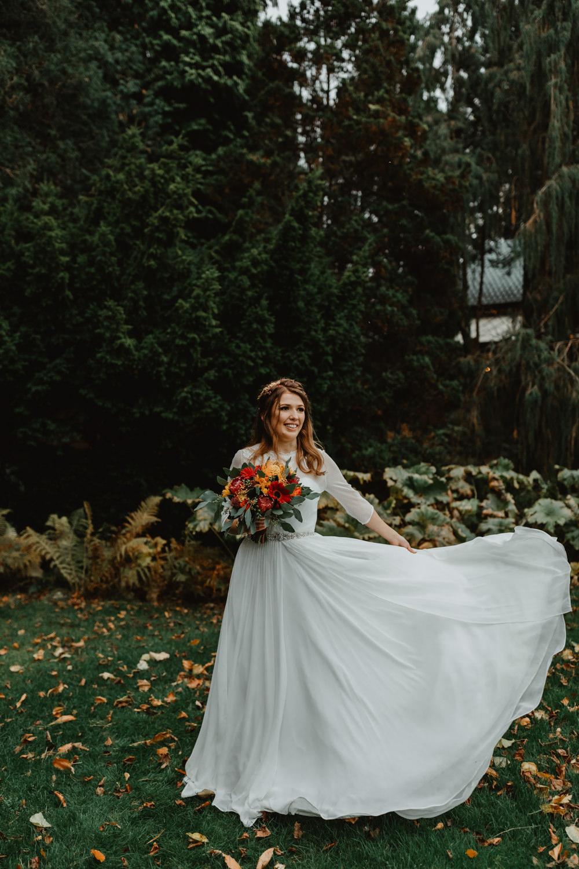 Bride Bridal Sweetheart Neckline Dress Gown Three Quarter Sleeve Cover Up Hair Vine Autumn Flower Bouquet Sun Pavilion Wedding Stevie Jay Photography