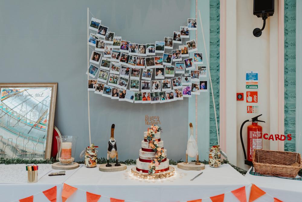 Polaroid Backdrop Cake Table Wood Slice Mirror Sign Sun Pavilion Wedding Stevie Jay Photography