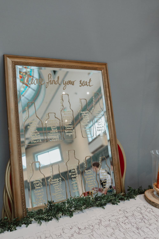 Mirror Table Plan Seating Chart Sun Pavilion Wedding Stevie Jay Photography