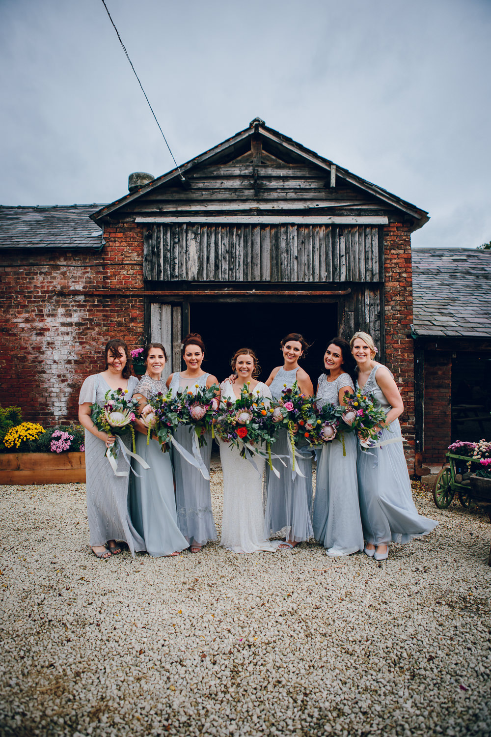 Bride Bridal V Neck Sleeves Beaded Detail Dress Gown Grey Maxi Dress Bridesmaids Tatton Wedding Stock Farm Barn Amy B Photography