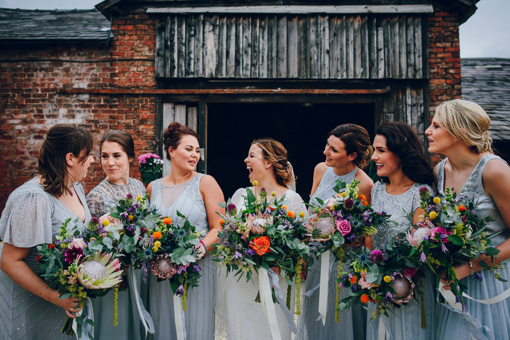 Bride Bridal V Neck Sleeves Beaded Detail Dress Gown Grey Beaded Bridesmaids Tropical Bouquet Tatton Wedding Stock Farm Barn Amy B Photography