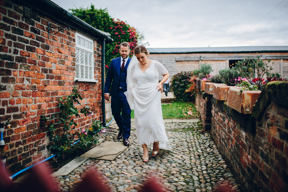 Bride Bridal V Neck Sleeves Beaded Detail Dress Gown Blue Suit Groom Tatton Wedding Stock Farm Barn Amy B Photography