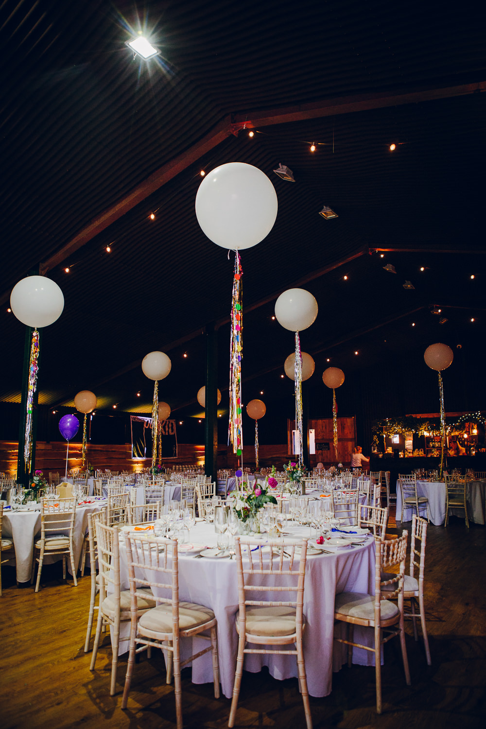 Giant Oversized Helium Balloons Foil Tassel Tatton Wedding Stock Farm Barn Amy B Photography