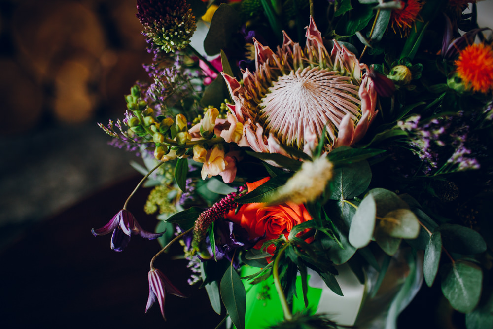 Multi Coloured Flowers Tropical Bouquet Tatton Wedding Stock Farm Barn Amy B Photography