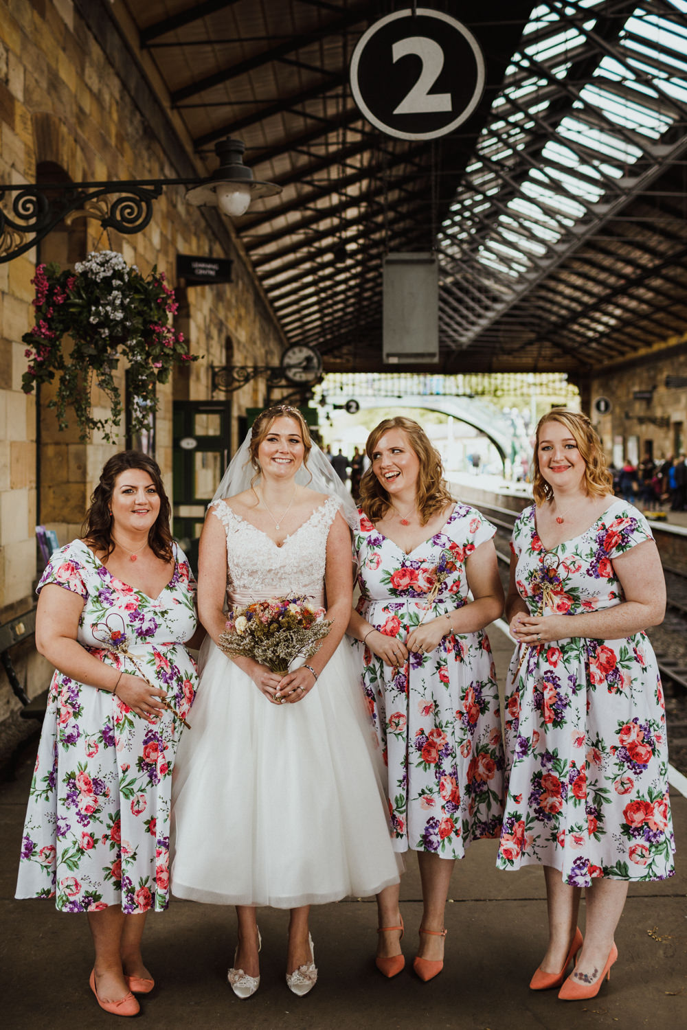 Floral Bridesmaid Dresses Short Bridesmaids Train Station Harry Potter Wedding Photography34