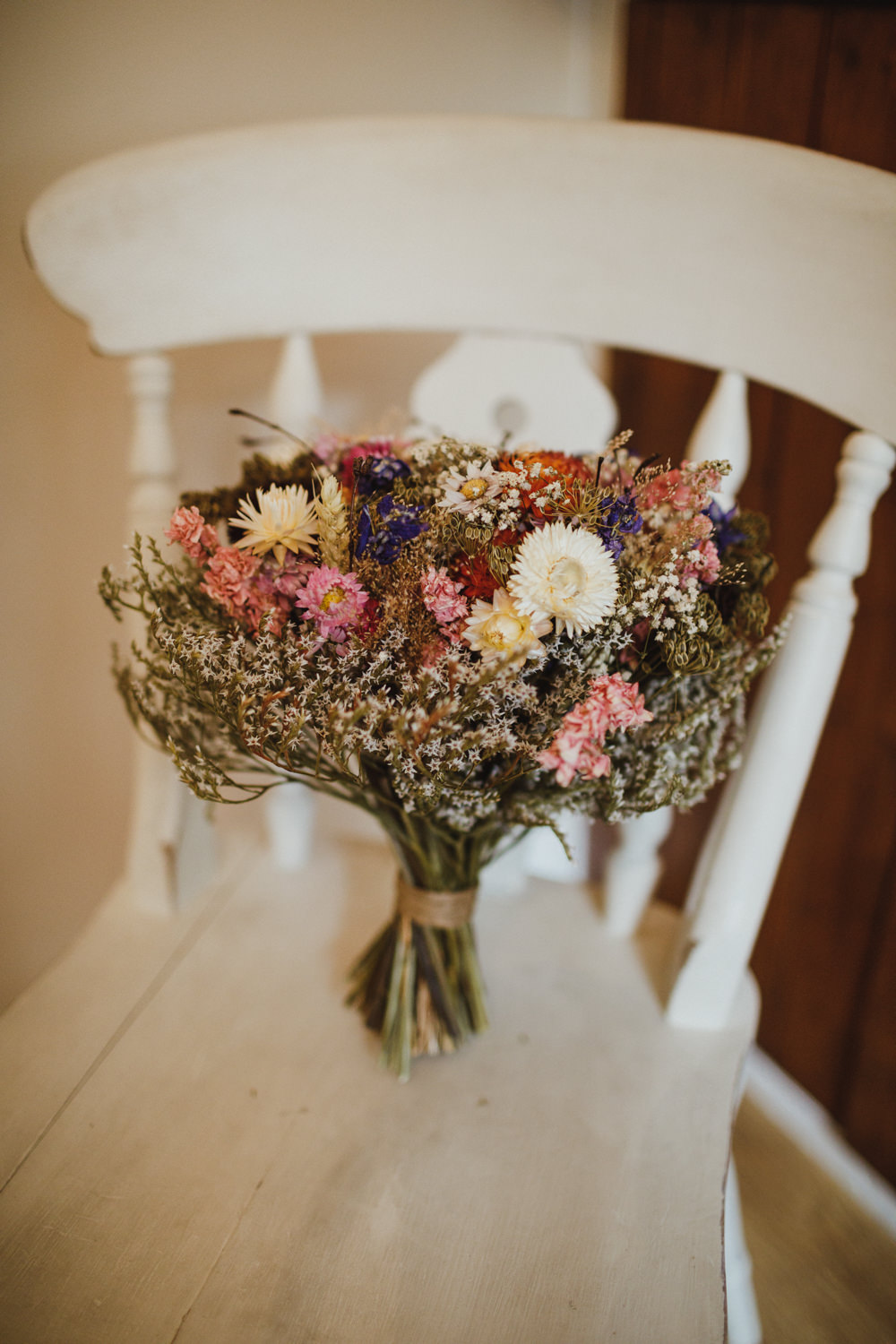 Dried Flowers Bouquet Bride Bridal Train Station Harry Potter Wedding Photography34