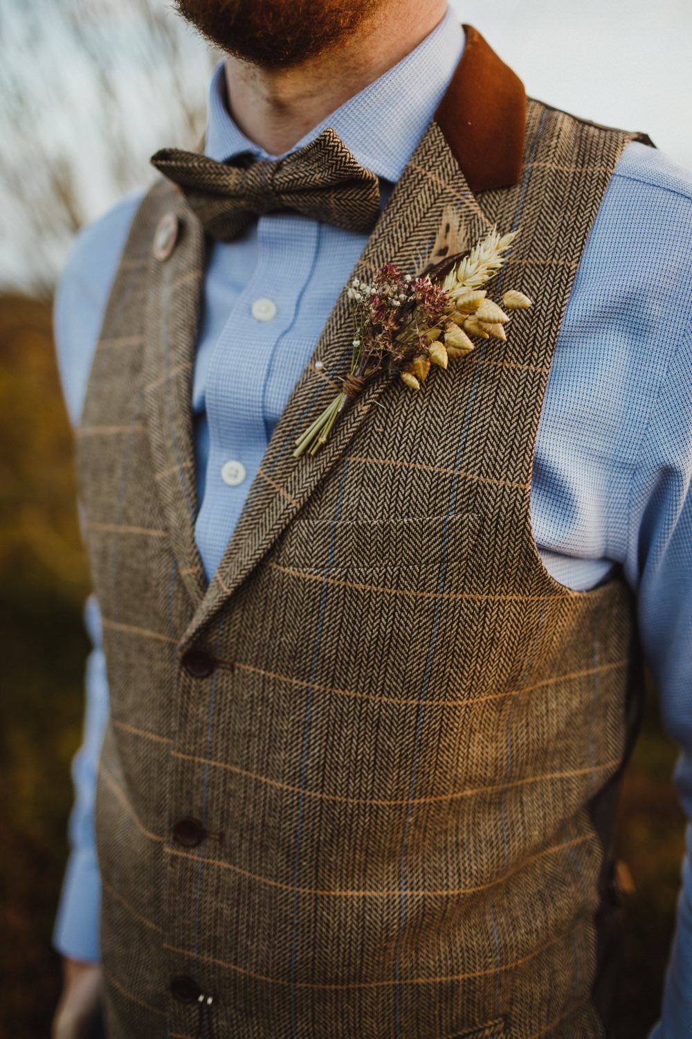Groom Groomsmen Waistcoat Bow Tie Chinos Dried Flowers Buttonhole Wheat Train Station Harry Potter Wedding Photography34