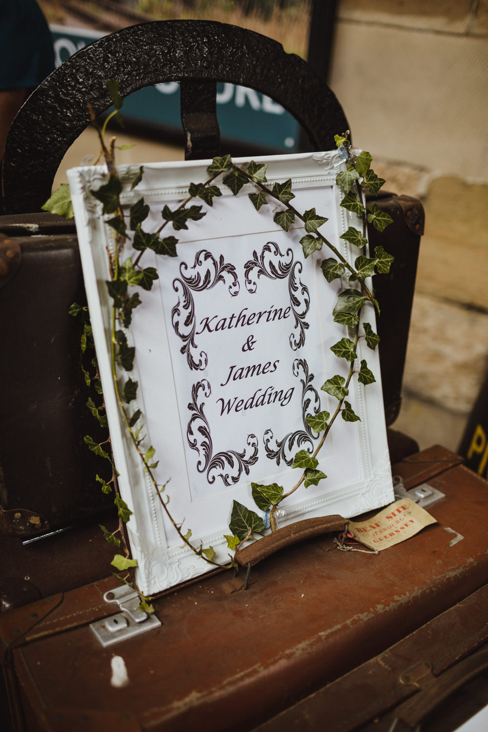 Welcome Sign Ivy Train Station Harry Potter Wedding Photography34
