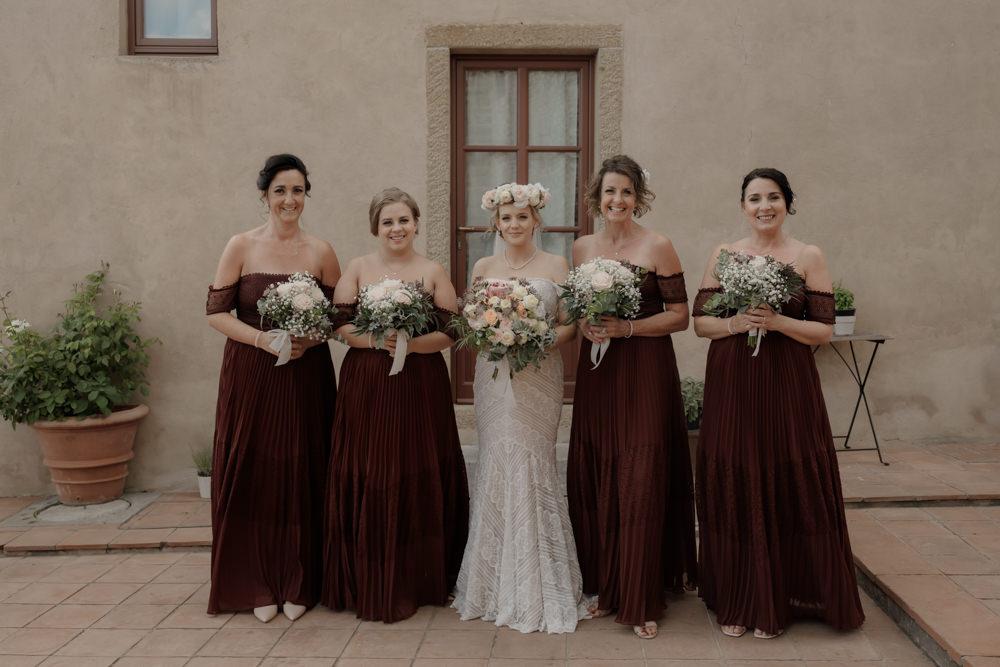 Long Burgundy Maxi Bridesmaids Bridesmaid Dress Dresses Tuscany Destination Wedding ZONZO