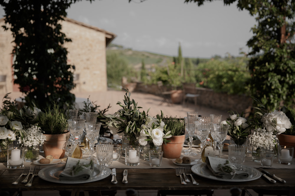 Outdoor Outside Table Tablescape Decor Flowers Pot Plants Long Tables Tuscany Destination Wedding ZONZO