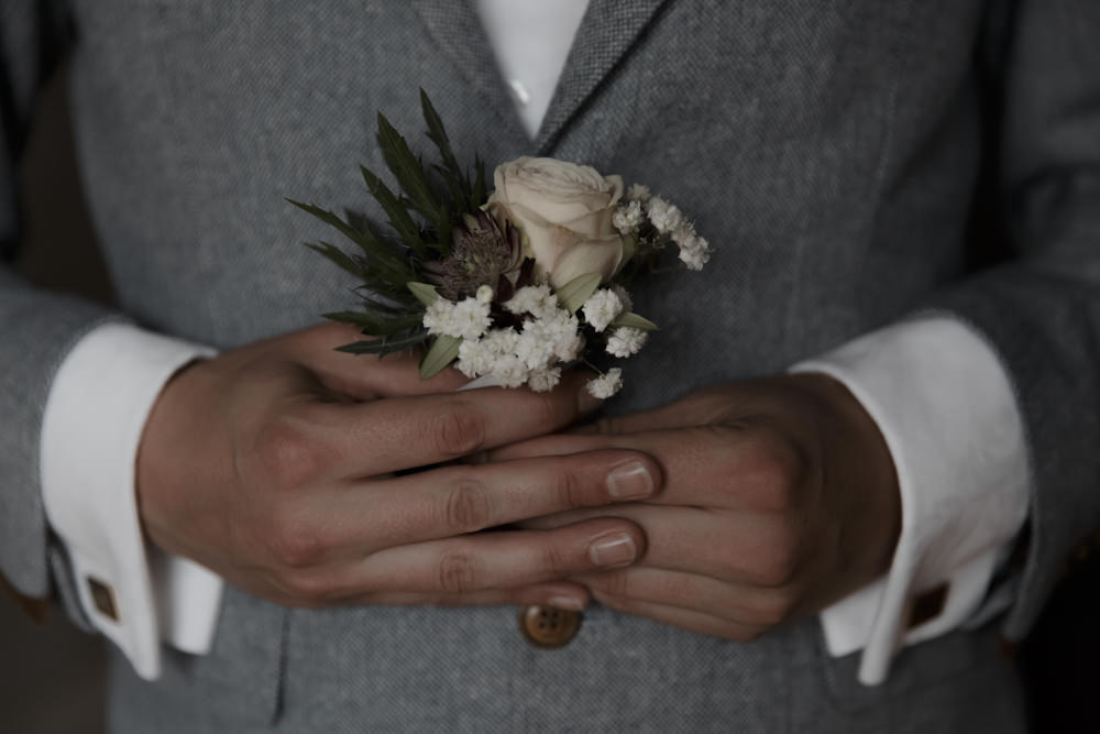 Buttonhole Flowers Thistle Tuscany Destination Wedding ZONZO