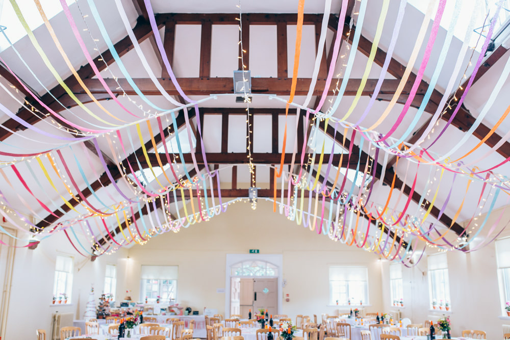 Ribbons Streamers Decor Colourful Ceiling Fairy Lights Village Hall Wedding Samantha Kay Photography