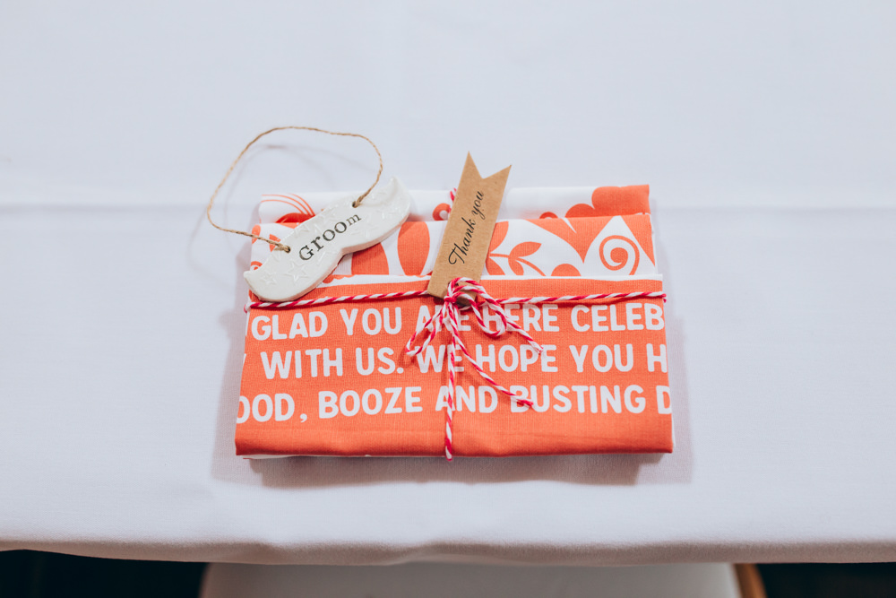Tea Towel Favours Place Setting Names Village Hall Wedding Samantha Kay Photography