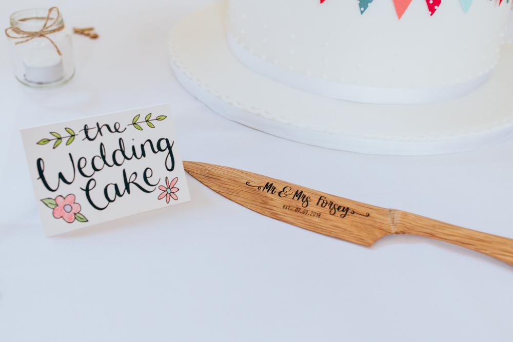 Cake Knife Wooden Village Hall Wedding Samantha Kay Photography