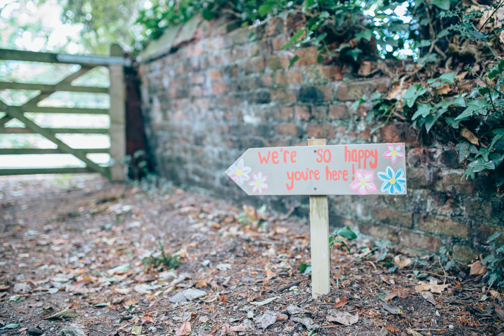 Painted Wooden Sign Post Signage Village Hall Wedding Samantha Kay Photography