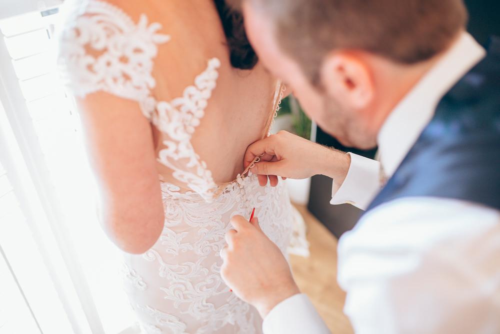 Dress Gown Bride Bridal Lace Train Village Hall Wedding Samantha Kay Photography