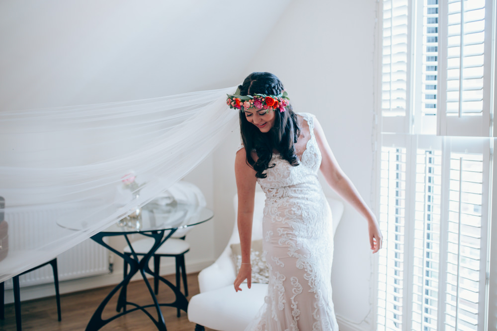 Dress Gown Bride Bridal Lace Train Veil Village Hall Wedding Samantha Kay Photography