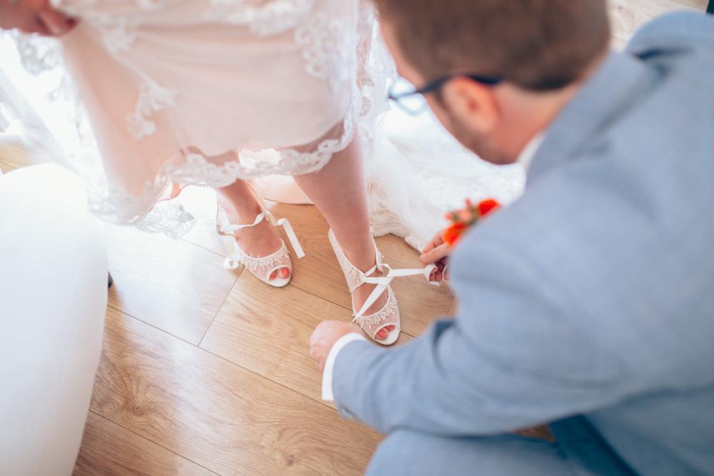 Shoes Bride Bridal Ribbon Village Hall Wedding Samantha Kay Photography