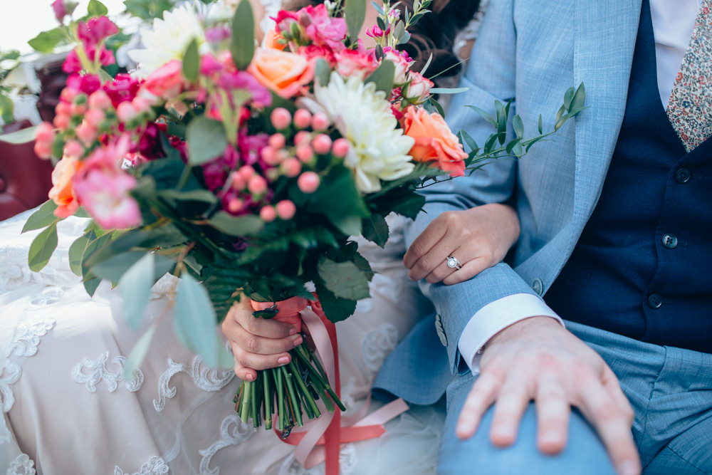 Bouquet Flowers Bride Bridal Pink Coral Berries Village Hall Wedding Samantha Kay Photography