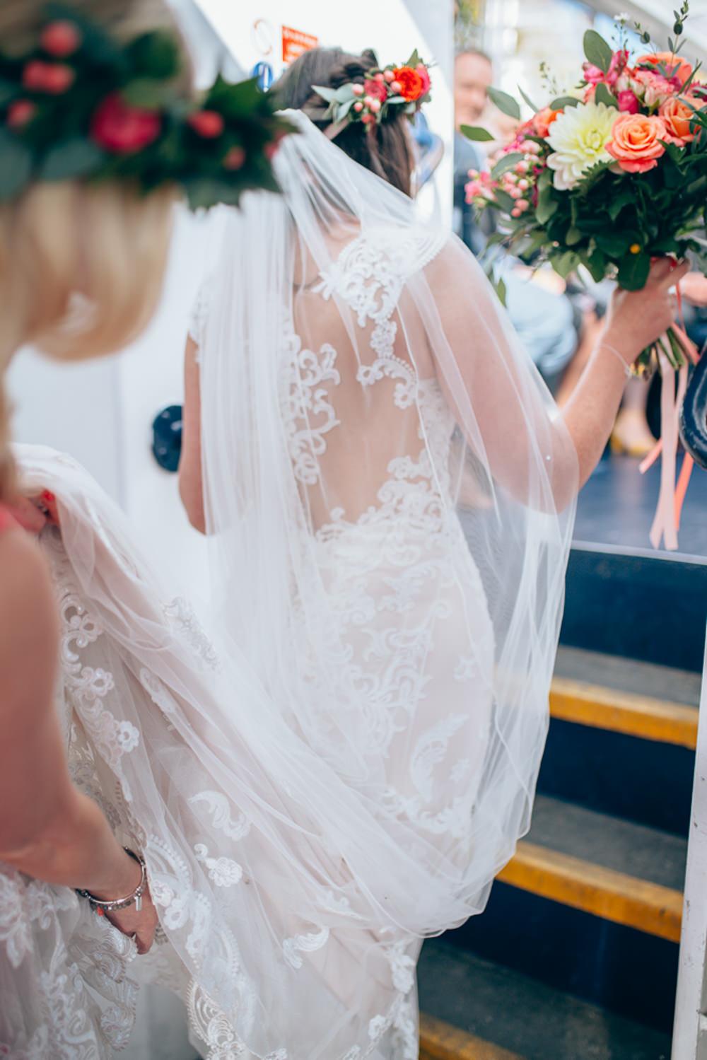 Dress Gown Bride Bridal Veil Lace Train Village Hall Wedding Samantha Kay Photography
