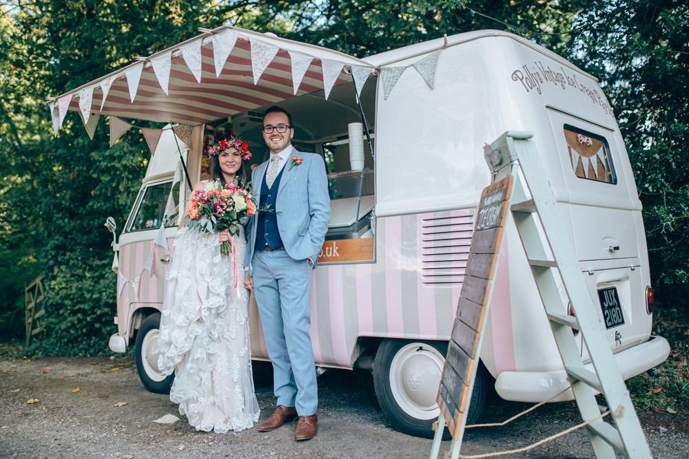 Pink Ice Cream Van Truck Village Hall Wedding Samantha Kay Photography
