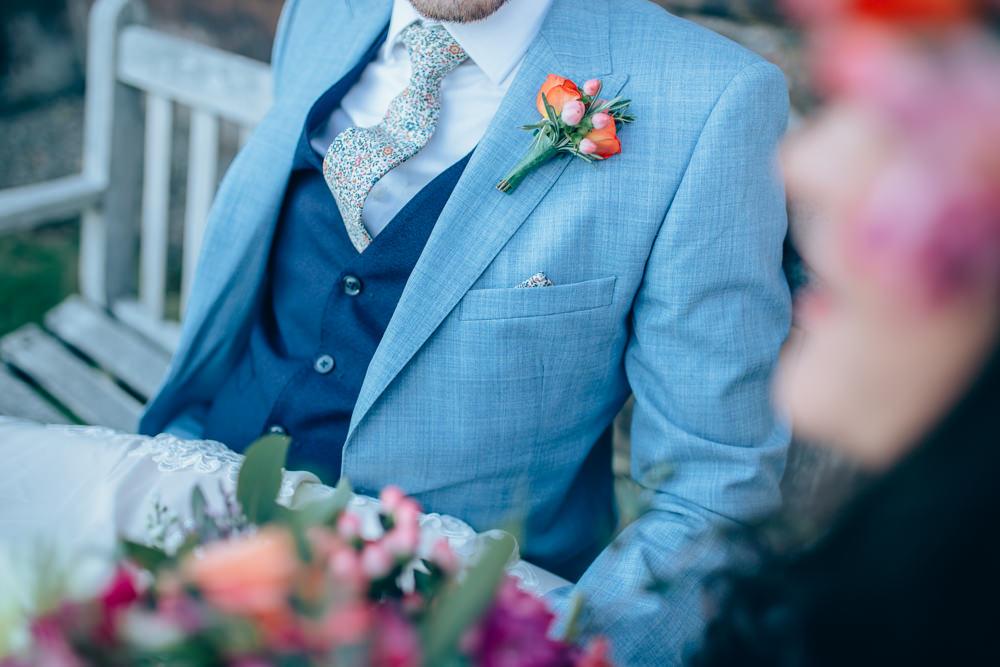 Groom Suit Blue Waistcoat Floral Tie Village Hall Wedding Samantha Kay Photography