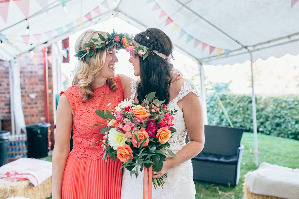 Coral Bridesmaid Dress Flower Crown Village Hall Wedding Samantha Kay Photography