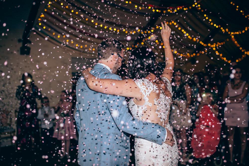 Confetti Glitter Cannon Village Hall Wedding Samantha Kay Photography