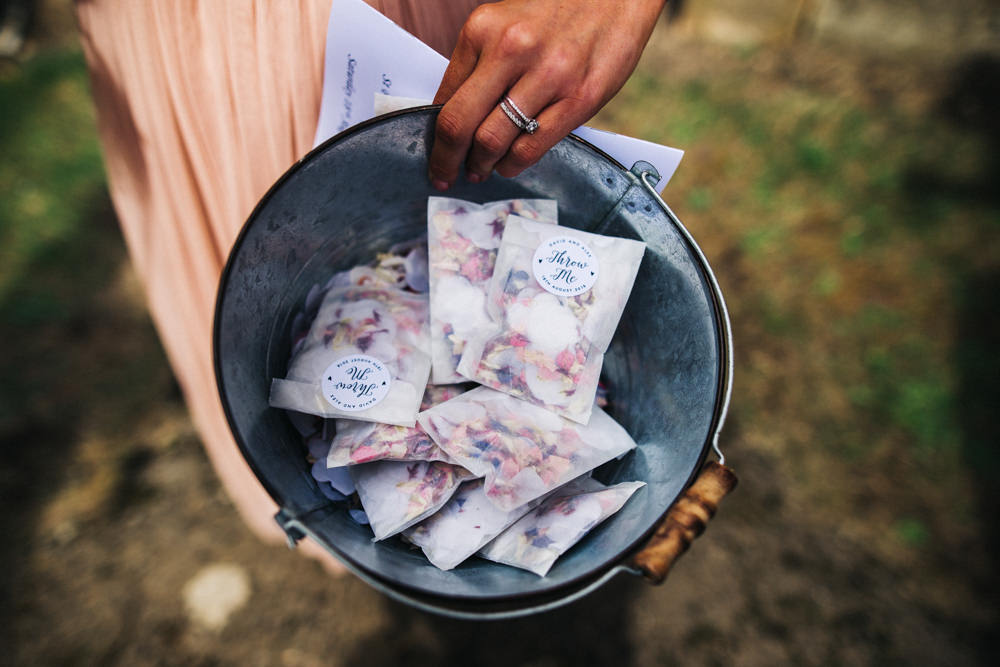 Confetti Bucket Packets Whinstone View Wedding Sally T Photography