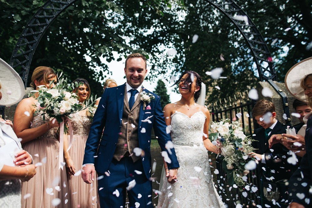 Bride Bridal Sweetheart Neckline Dress Gown Fit Flare Navy Suit Groom Tweed Waistcoat Veil Confetti Whinstone View Wedding Sally T Photography